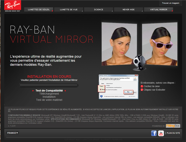 ray ban miroir virtuel